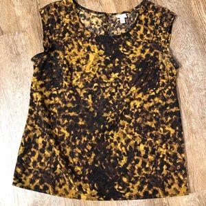 Target Merona M brown & gold sleeveless blouse